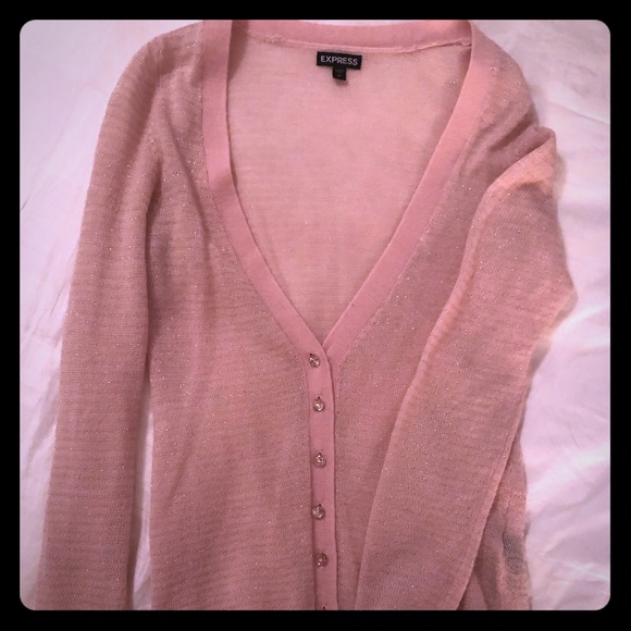 Express Sweaters - Light pink button up sweater from express